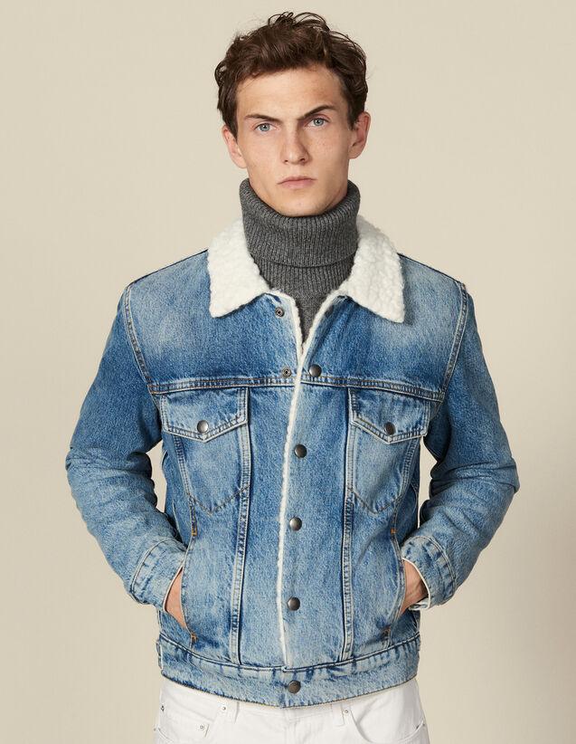 Veste en jean, intérieur faux mouton : Blousons & Vestes couleur Blue Vintage - Denim