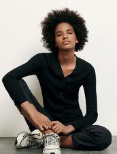 Cardigan in maglia sottile a coste : Maglieria & Cardigan colore Nero
