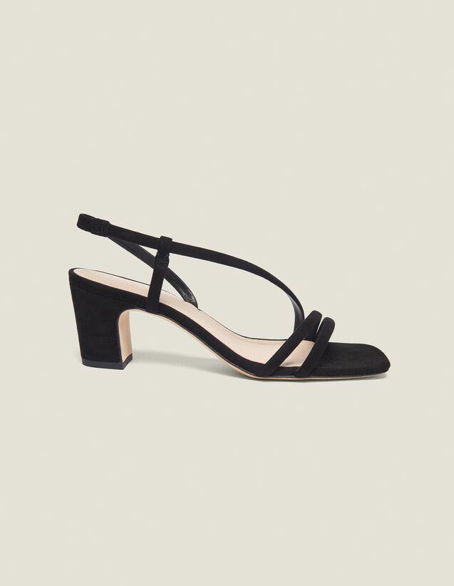 Sandali Con Il Tacco Basso In Pelle : Collezione Estiva colore Nero