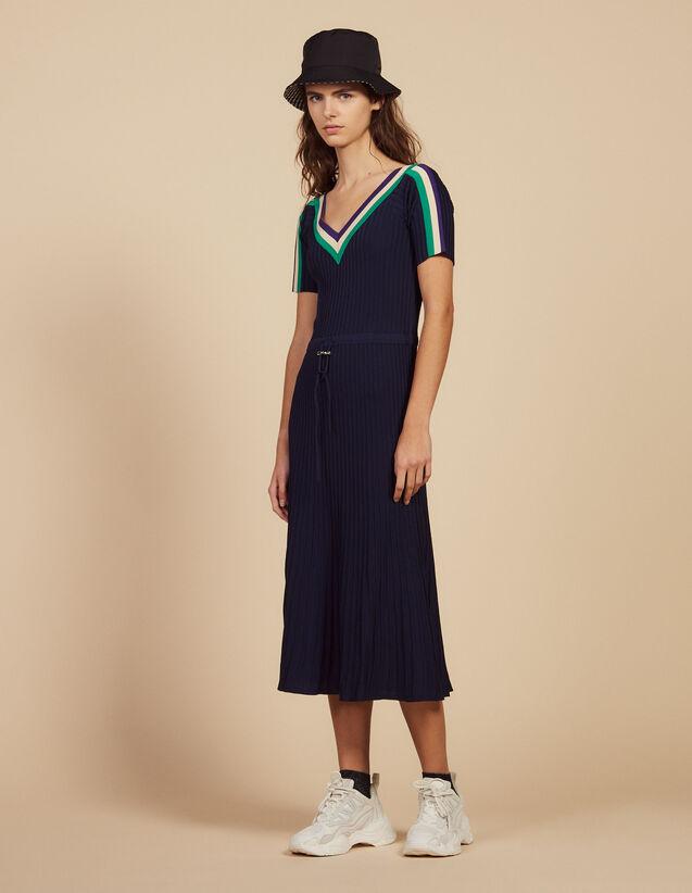 Robe Longue En Maille Sportswear : null couleur Marine