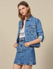 Jupe Courte En Jean Ornée De Studs : LastChance-ES-F50 couleur Bleu jean