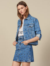 Gonna Corta In Jeans Con Borchie : Gonne & Short colore Blue jeans