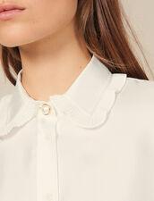 Camicia in seta con collo plissettato : Top & Camicie colore Ecru