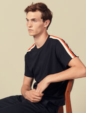 T-Shirt Con Righe Sulle Maniche : Collezione Invernale colore Bianco