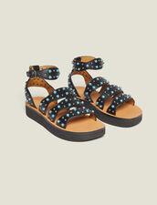 Sandales Compensées À Détails Perles : null couleur Noir