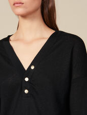 T-Shirt In Lino A Maniche Lunghe : Magliette colore Nero