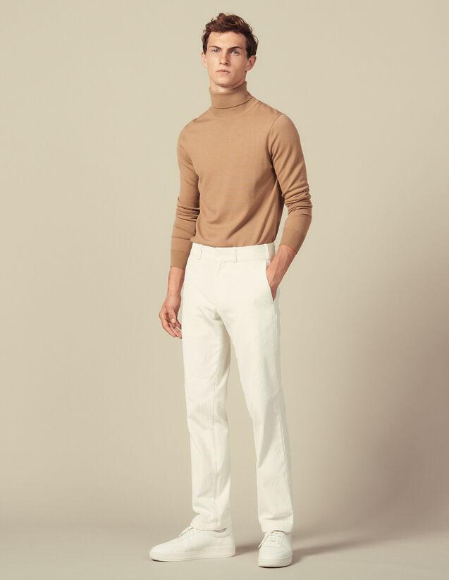 Pantalon Droit En Velours : HAir couleur Ecru