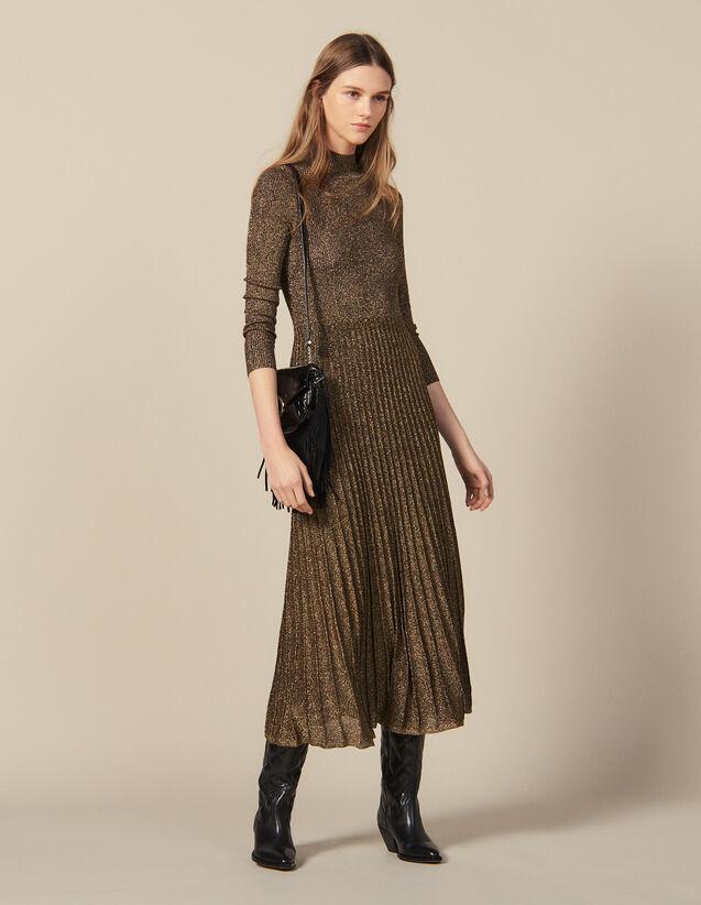 Robe longue en maille lurex : Robes couleur Or