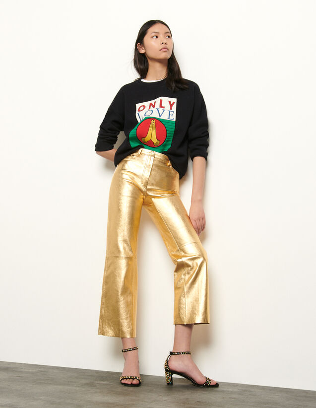 Pantaloni in pelle metallizzata : Pantaloni colore Oro