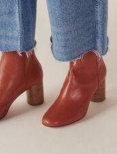 Bottines En Cuir : null couleur Rouille