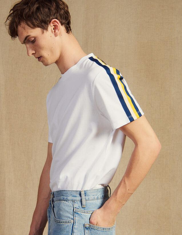 T-Shirt Con Decorazioni A Righe : Magliette & Polo colore Bianco