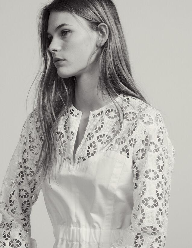 Top Bimateriale Con Pizzo : Top & Camicie colore Bianco