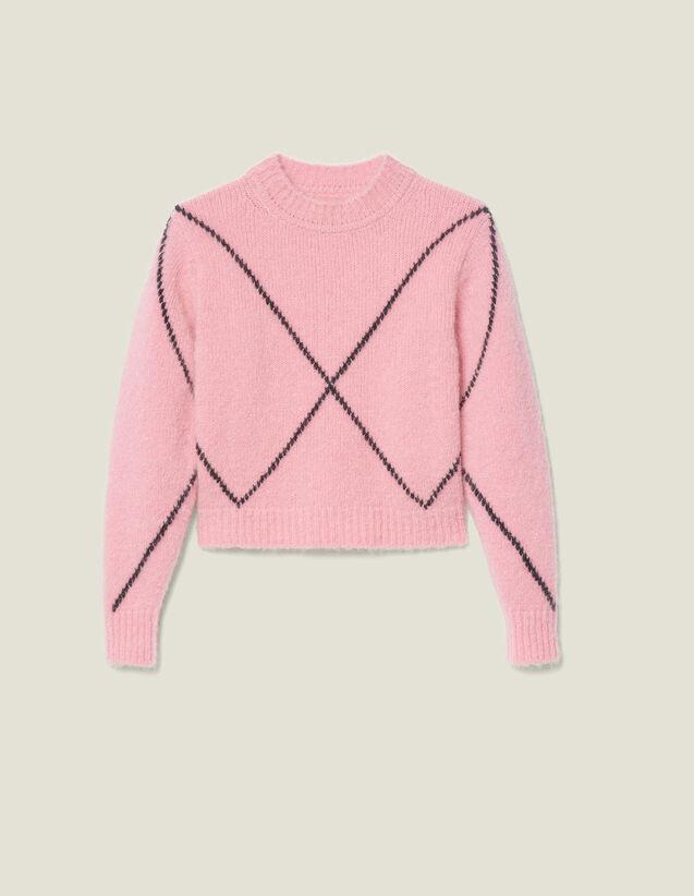 Pull Poilu En Jacquard : Pulls & Cardigans couleur Rose