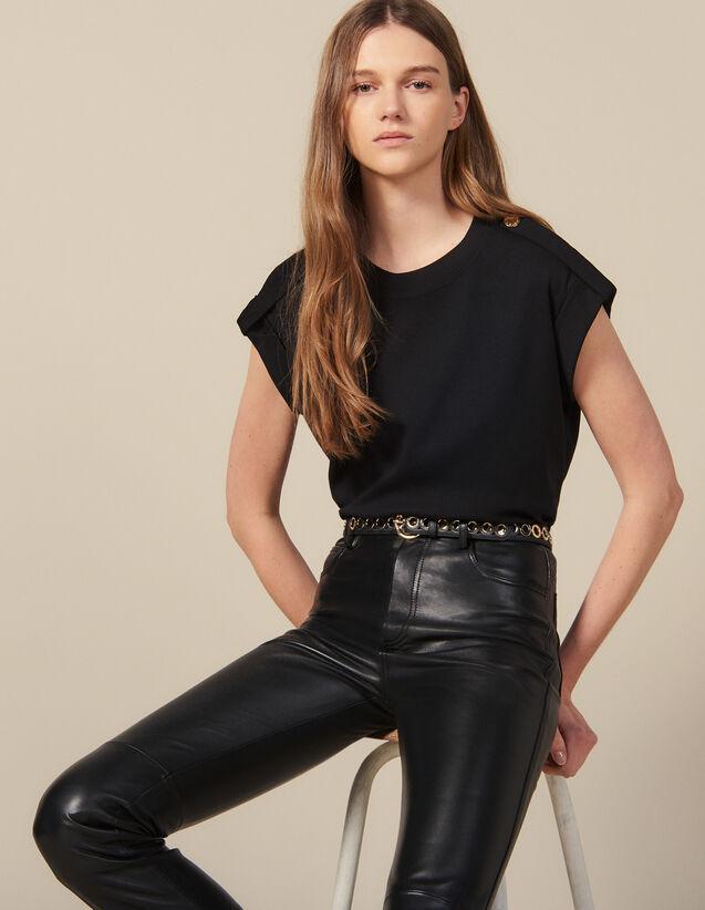 T-shirt large avec pattes : T-shirts couleur Noir