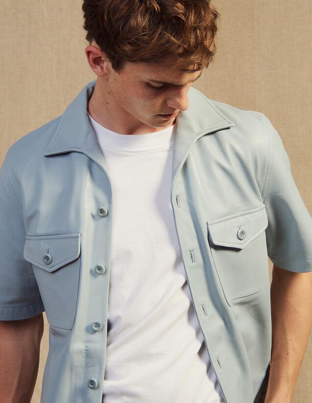 Camicia A Maniche Corte In Agnello : Camicie colore Sky Blue