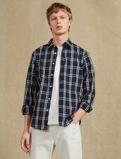 Camicia A Maniche Lunghe In Tartan : Camicie colore Blu Marino