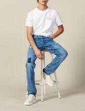 Jeans Slim Destroy In Cotone : L'intera collezione Invernale colore Blue Vintage - Denim