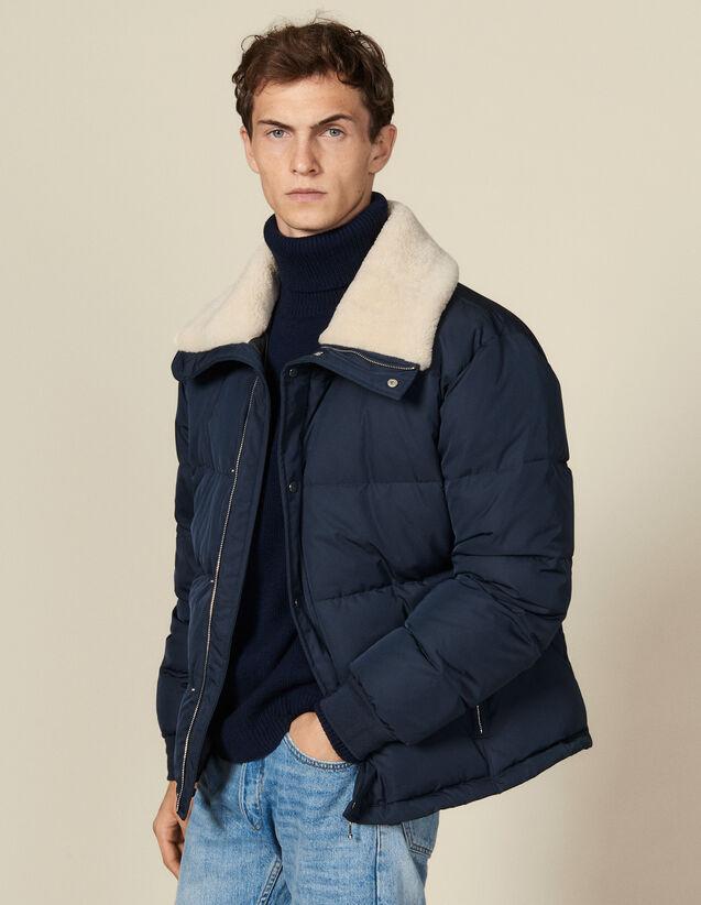 Piumino con ampio collo di pelliccia : Trench & Cappotti colore Blu Marino