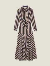 Robe longue à jeux de rayures : FTout-le-PAP couleur Beige / Bleu