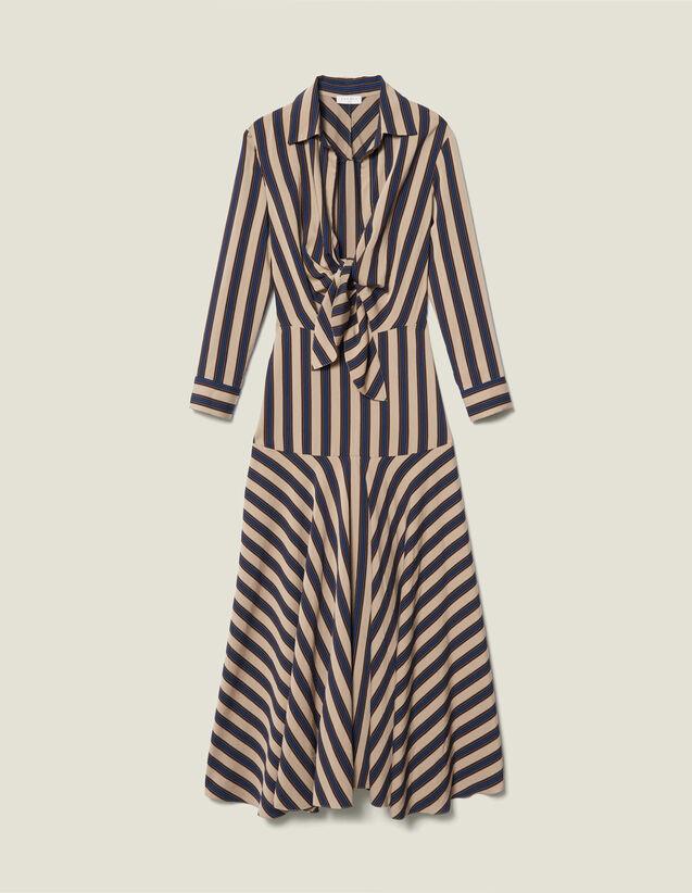 Robe longue à jeux de rayures : LastChance-ES-F50 couleur Beige / Bleu