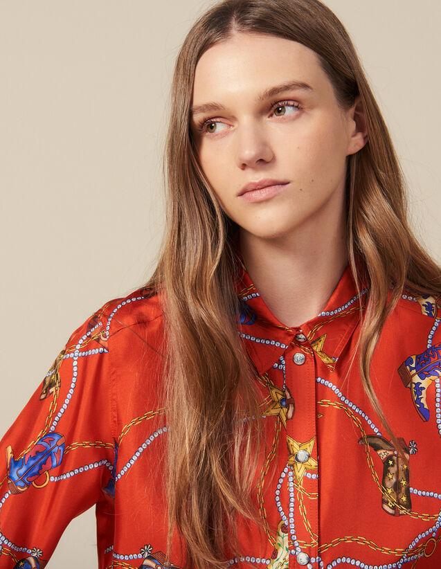Chemise Imprimée En Twill De Soie : Tops & Chemises couleur Rouge