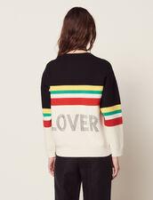 Pullover A Righe Multicolori E Scritta : null colore Nero