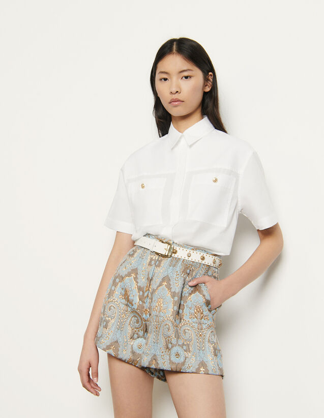 Short en brocard évasé : Jupes & Shorts couleur Or / Bleu