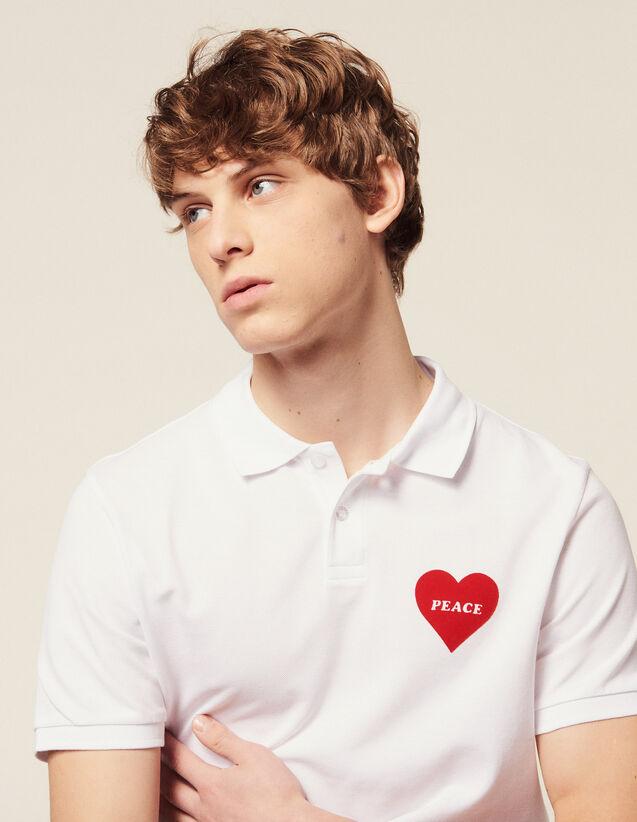 Polo In Piqué Di Cotone, Cuore Floccato : Magliette & Polo colore Bianco