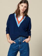 Pull en maille avec large galon bicolore : Pulls & Cardigans couleur Marine