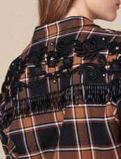 Chemise À Carreaux Et Broderies Western : LastChance-ES-F40 couleur Camel/noir