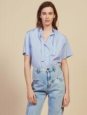 Camicia In Popeline A Maniche Corte : null colore Blu