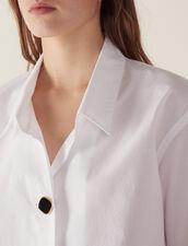 Camicia In Cotone Con Bottone Gioiello : Top & Camicie colore Bianco