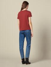 T-Shirt Con Applicazione Ricamata : LastChance-ES-F50 colore Bordeaux