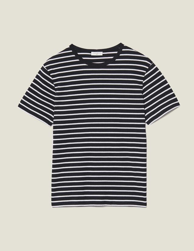 T-shirt marinière : T-shirts & Polos couleur Noir/Ecru