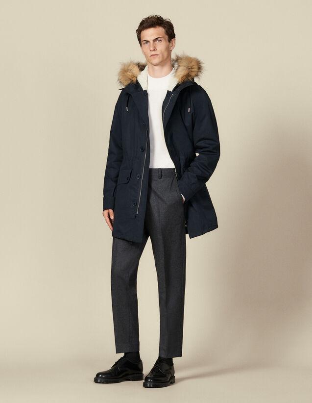 Parka lungo con cappuccio : Trench & Cappotti colore Blu Marino