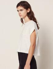 T-Shirt Corta In Lino : null colore Ecru