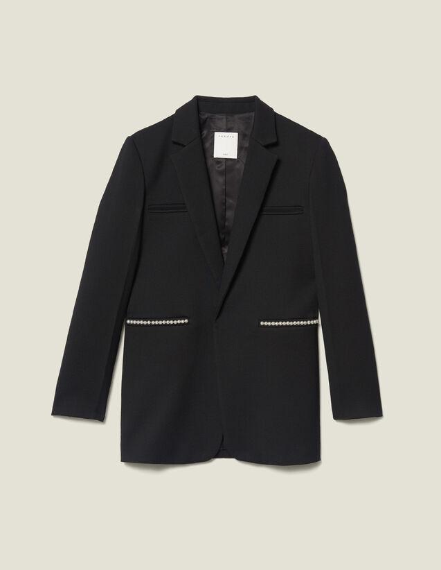 Blazer ornée de perles : Blousons & Vestes couleur Noir
