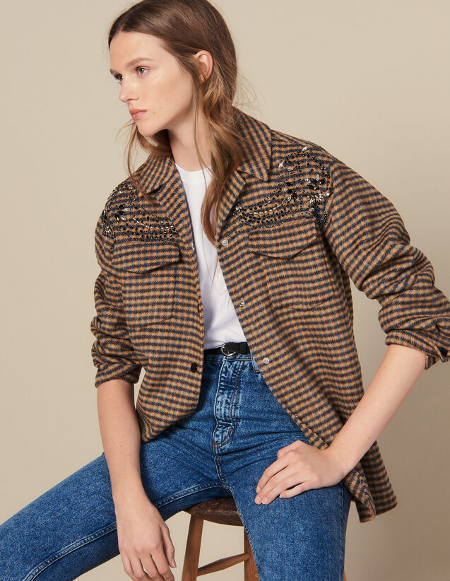 Giacca Stile Camicia Oversize A Quadri : Giacche & Giubbotti colore Multicolore