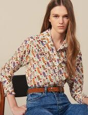 Camicia Stampata Con Volant : Top & Camicie colore Ecru