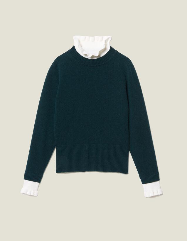 Pullover con collo e polsini a contrasto : Maglieria & Cardigan colore Verde