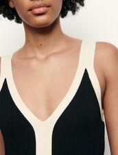 Abito lungo bicolore in maglia a coste : Abiti colore Nero