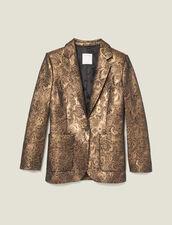 Veste De Tailleur En Brocard : Blousons & Vestes couleur Or