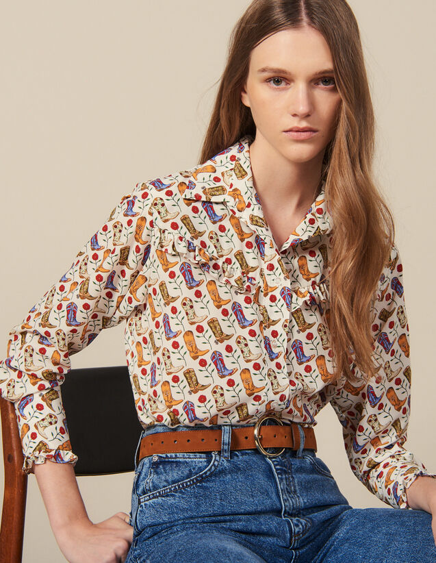 Camicia Stampata Con Volant : Novità colore Ecru