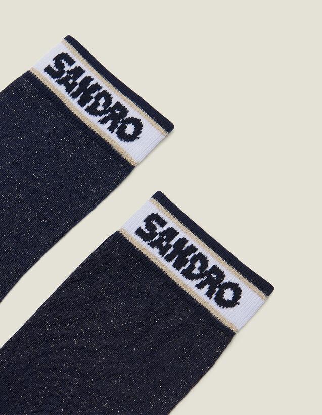 Calzini Lurex Con Logo Sandro : null colore Blu Marino