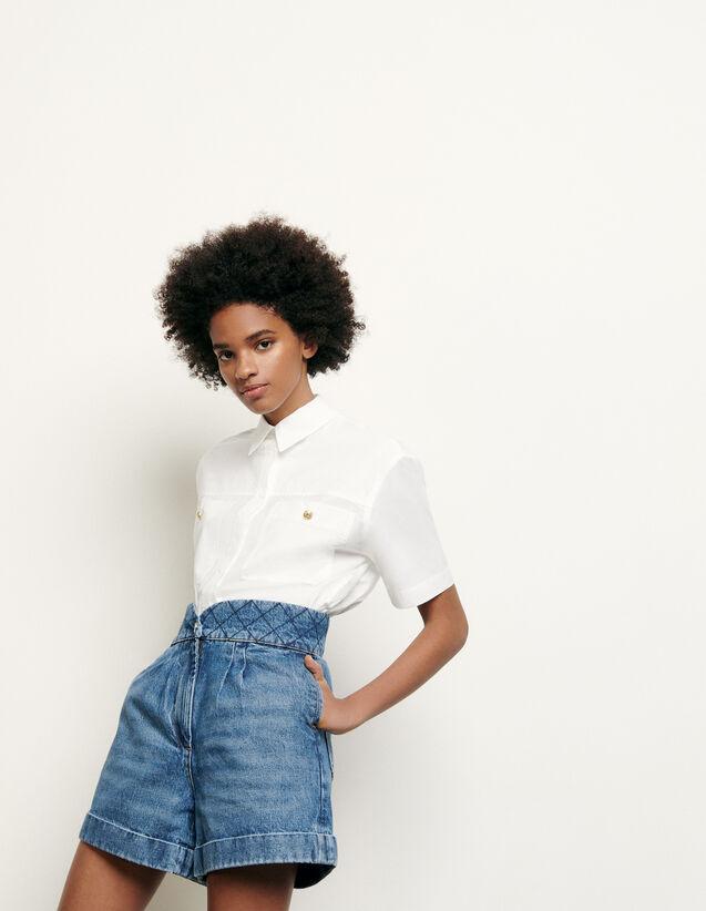 Short in jeans con cintura matelassé : Gonne & Short colore Blue Vintage - Denim