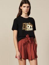 T-Shirt Con Scritta In Cotone : Novità colore Nero
