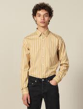 Camicia A Righe In Cotone : Collezione Invernale colore Beige/blanc