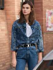 Camicia In Jeans Con Borchie : Top & Camicie colore Blue Night - Denim