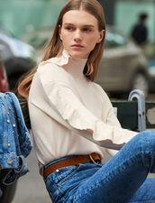 Pullover A Collo Alto Con Volant : Maglieria & Cardigan colore Carne
