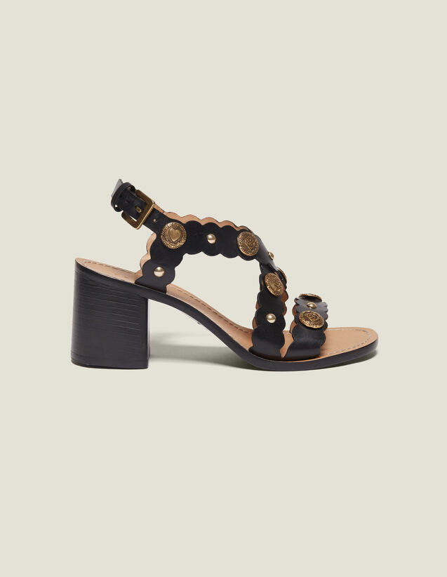 Sandali Con Tacco E Dettaglio Rivetti : null colore Nero